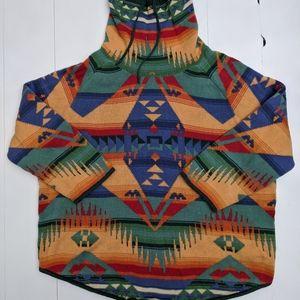 Chaps Denim Aztec Print Funnel Neck Sweater